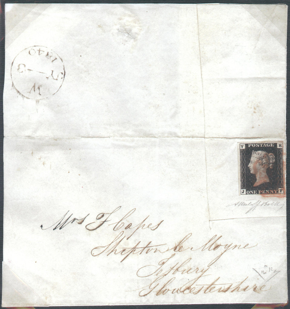 Great Britain 1840 1d Black (V.R. Official), Cover SGV1