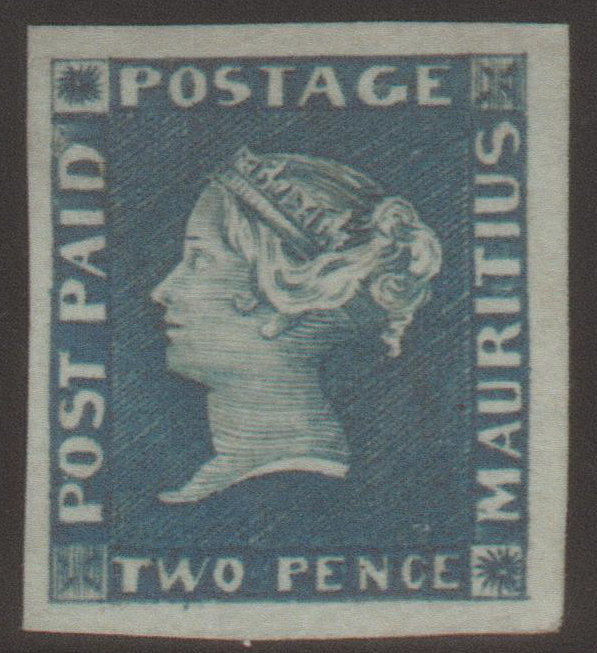 Mauritius 1848 2d. Deep Blue on Grey to Bluish Paper, Mint SG5
