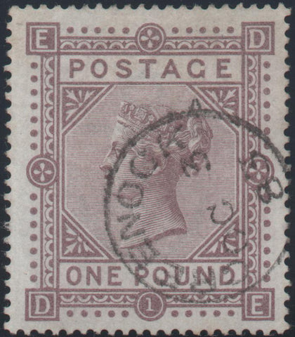 Great Britain 1882 £1 brown-lilac, Plate 1 (white paper), Used SG136