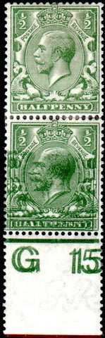 Great Britain 1913 ½d Green, Mint SG351a