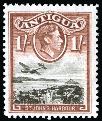 Antigua 1938-51 1s black and red-brown SG105ab