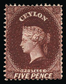 Ceylon 1862 5d lake-brown SG40