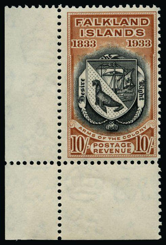 Falkland Islands 1933 Centenary 10s black and chestnut