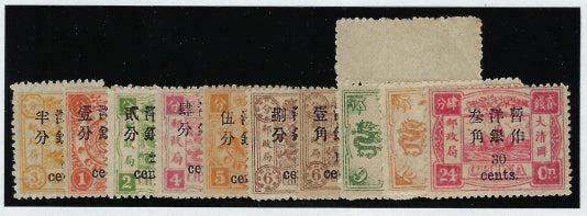 China 1897 (Jan) set of 10 to 30c on 24ca rose-carmine, SG37/46