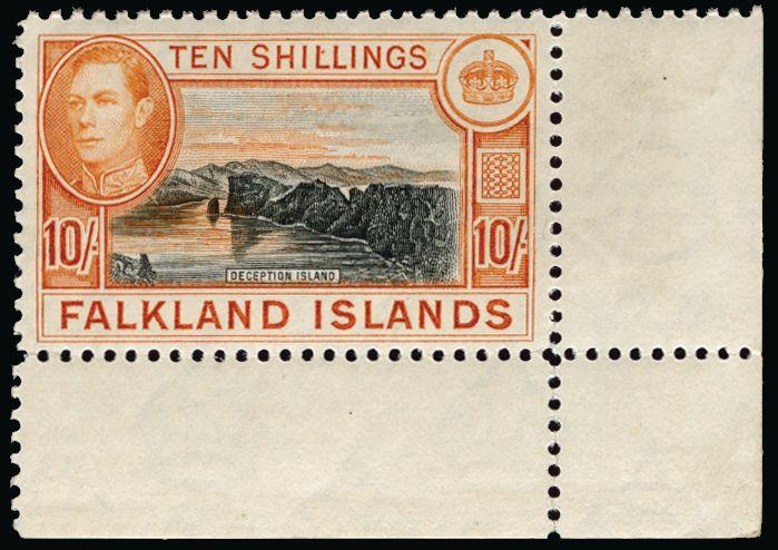 Falkland Islands 1938-50 10s black and orange SG162a