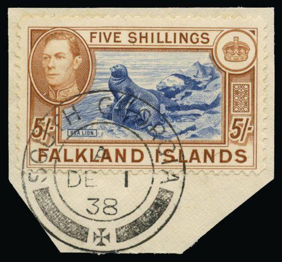 Falkland Islands 1938-50 Falkland Islands 5s blue and chestnut (first printing) SGZ86