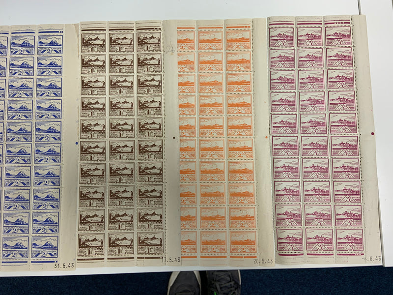 Half sheets of Jersey stamps issued during the German occupation