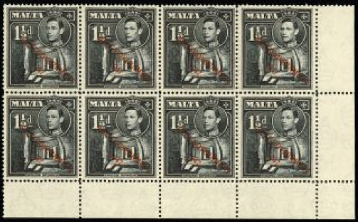 Malta 1948-53 'SELF-GOVERNMENT' 1½d black SG237/a