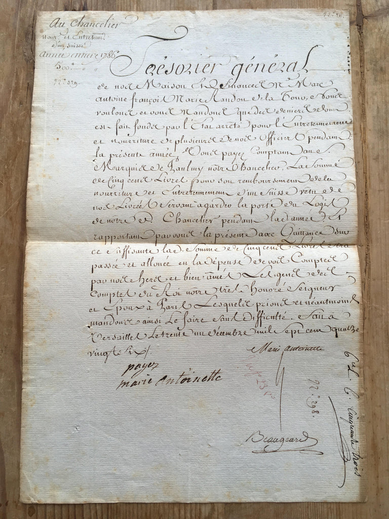 Marie Antoinette signed and inscribed document