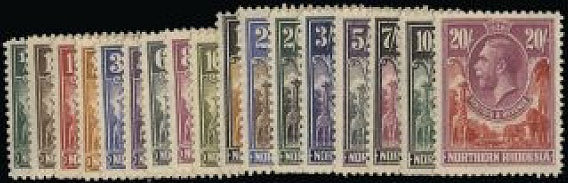 Northern Rhodesia 1925-29 set of 17 to 20s SG 1/17