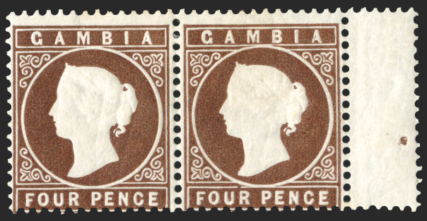 GAMBIA 1880-81 4d pale brown, SG16B