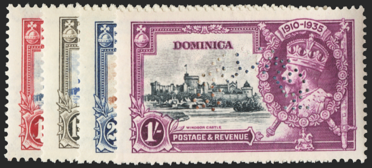 DOMINICA 1935 Silver Jubilee set of 4 to 1s SPECIMEN, SG92s/5s