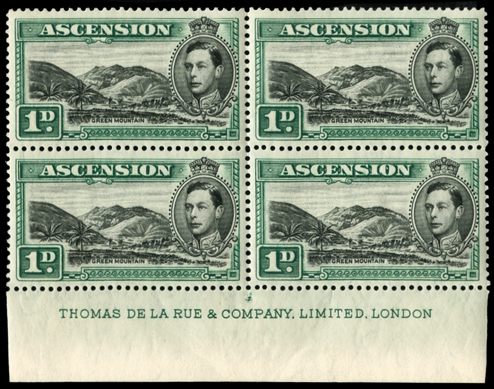 ASCENSION 1938-53 1d black and green (UNUSED), SG39