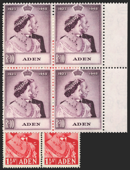ADEN 1949 RSW 1½a and 10r  (UNUSED), SG30/1