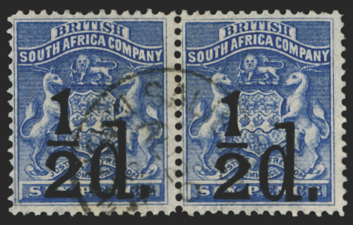 RHODESIA 1892 ½d on 6d ultramarine (USED), SG14