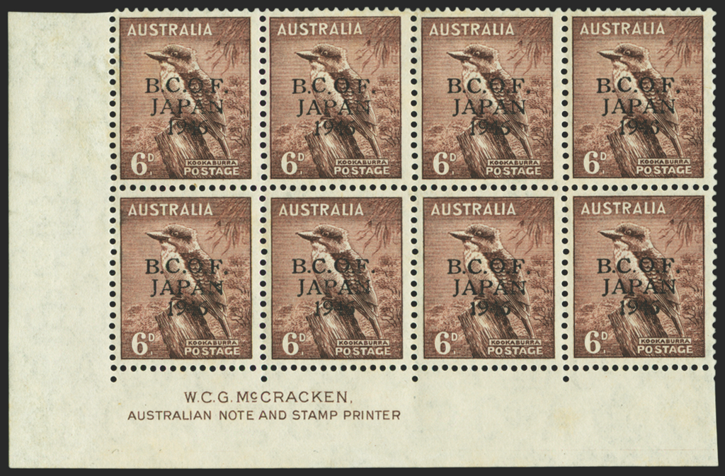 AUSTRALIA B.C.O.F. 1946-48 6d purple-brown (UNUSED), SGJ4a