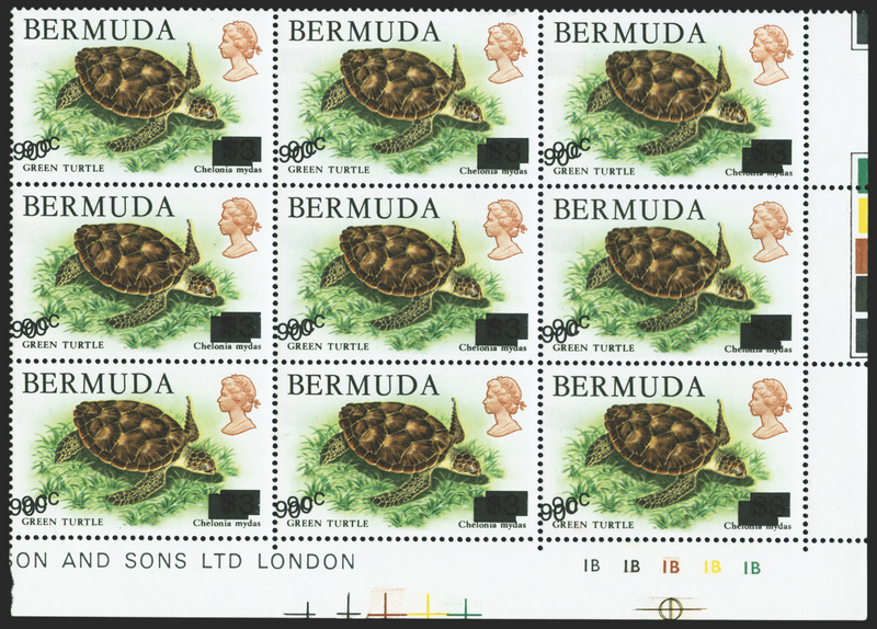 BERMUDA 1986 90c on $3 'Green Turtle' (UNUSED), SG534a