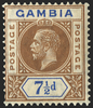 GAMBIA 1912-22 7½d brown and blue variety, SG95a