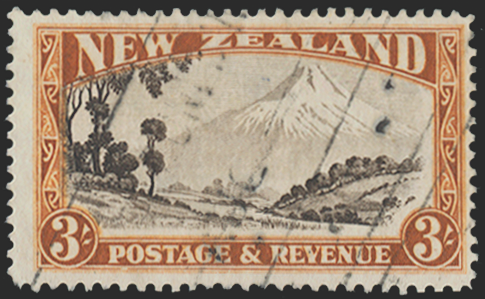 NEW ZEALAND 1935-36 3s chocolate and yellow-brown (USED), SG569ay