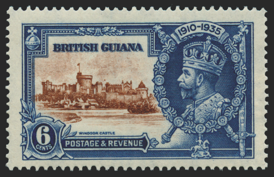 BRITISH GUIANA 1935 Silver Jubilee 6c brown and deep blue (UNUSED), SG302g