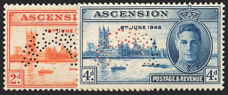 ASCENSION 1946 Victory 2d and 4d (SPECIMEN), SG48s/9s