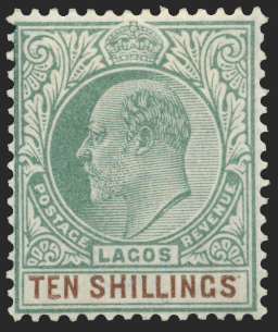 Nigeria (Lagos) 1904 10s green and brown, SG53
