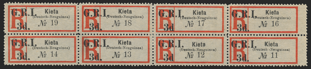 NEW GUINEA 1915 3d black and red registration label 'Kieta', SG38b