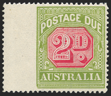 AUSTRALIA 1922-30 2d carmine and yellow-green Postage Due, SGD94var