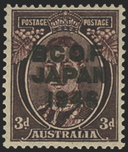 Australia BCOF 1946-47 3d purple-brown error opt double, SGJ3a