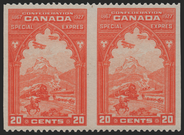 Canada 1927 20c orange Confederation horizontal pair, SGS5