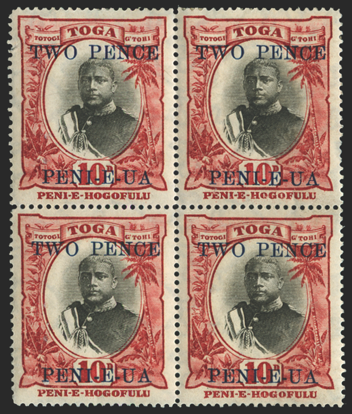 Tonga 1923-4 2d on 10d black and lake varieties, SG66/b/c