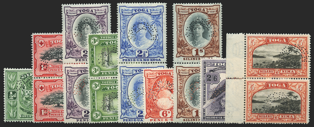 Tonga 1942-9 set of 9 to 5s Specimens, SG74s/82s