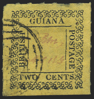British Guiana  1862 2c black/yellow, Used, SG121