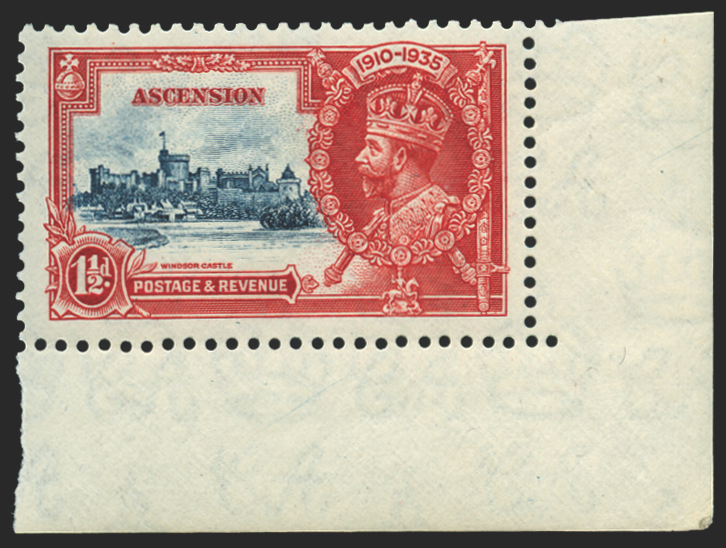 Ascension 1935 Silver Jubilee 1½d deep blue and scarlet u/m, SG31l