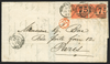 Great Britain 1863 Overseas Mail vertical pair to Paris, SG80