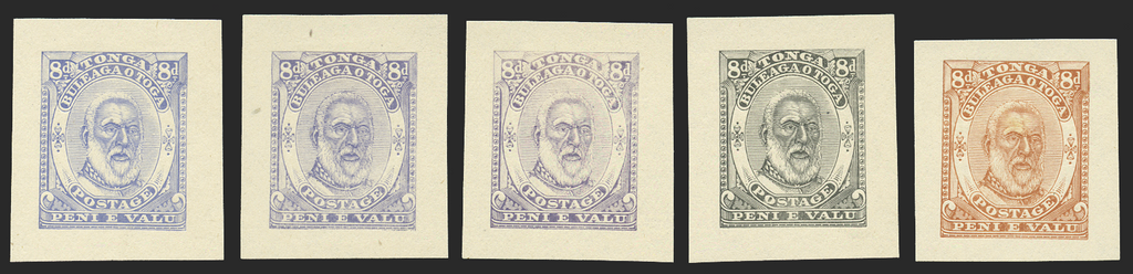 Tonga 1892 8d die proofs x 5 in unissued colours, SG13