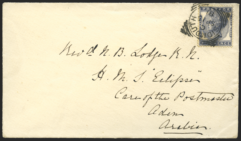 "Great Britain 1881 Cover to Aden HMS ""Eclipse"", SG169"