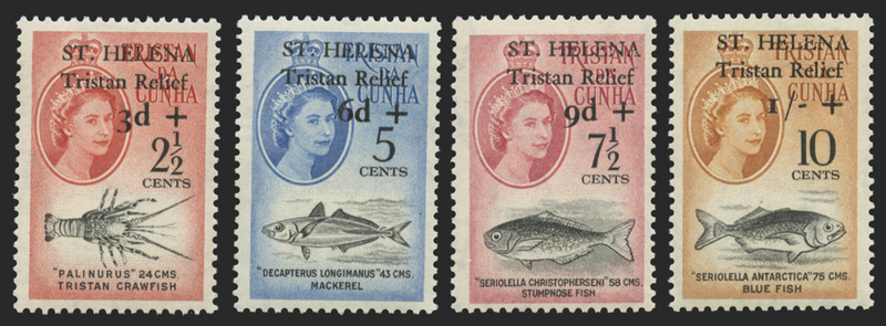 ST HELENA 1961 TRISTAN RELIEF FUND SET OF 4 U/M, SG172/75