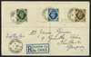 Great Britain 1939 9d deep olive-green, 10d turquoise & 1s bistre-brown First Day Cover, SG473/5.