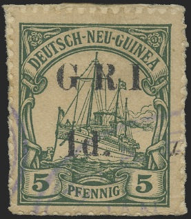 NEW GUINEA 1914-15 1d ON 5pf GREEN STOPS OMITTED, SG17ga