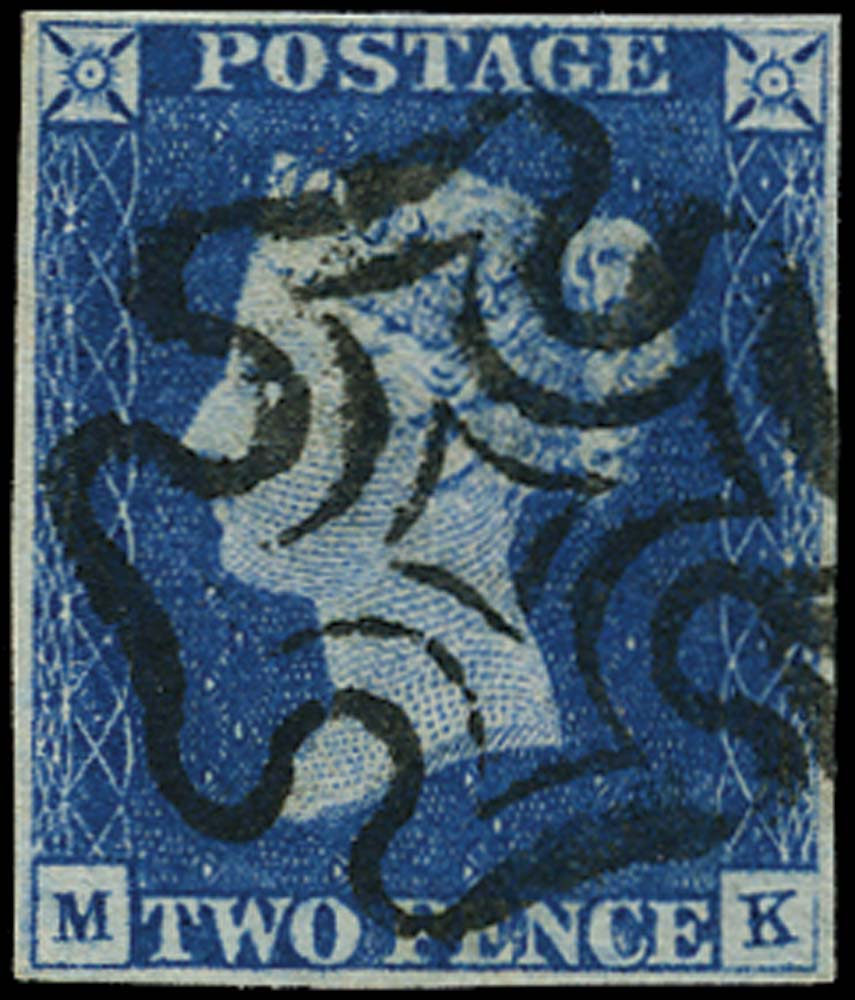Great Britain 1840 2d blue, Plate 1 Used, SG5