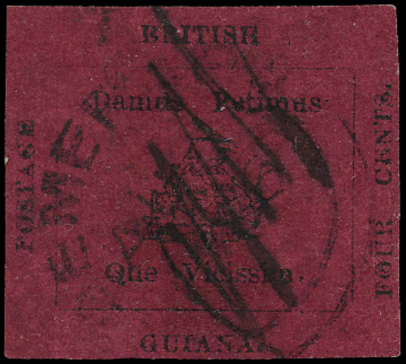 British Guiana 1856 Used 4c black on magenta with E.T.E.D. initials, SG24