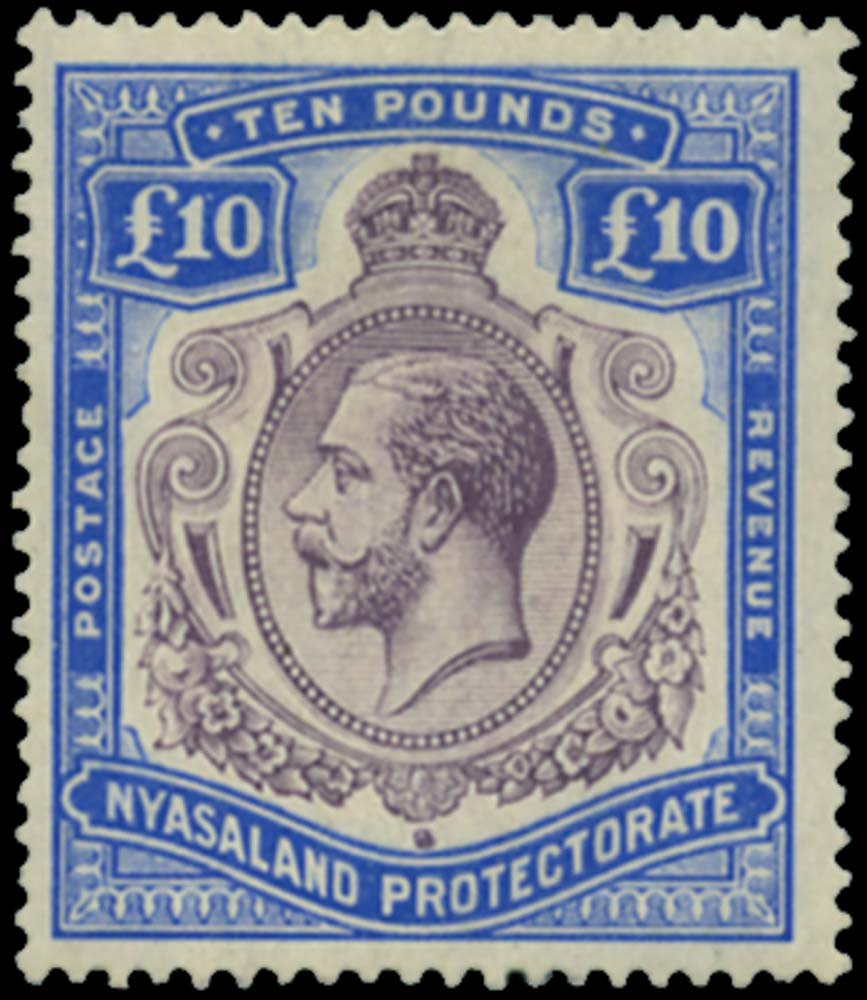 Nyasaland 1913 Mint £10 variety Nick in top right scroll, SG99c