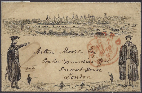 Great Britain 1840 Oxford No 2 'Boating' envelope.