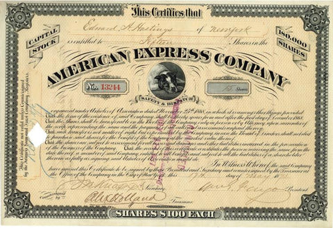 American Express Company stock certificate signed by William Fargo
