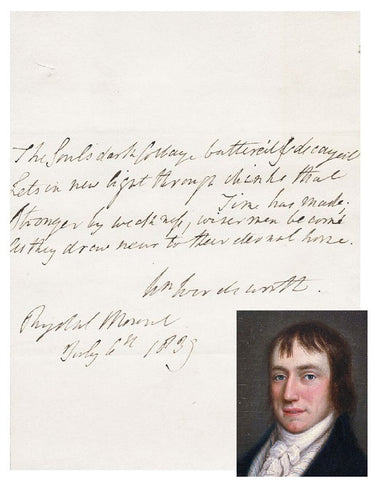 William Wordsworth Autographed Poetry Quotation
