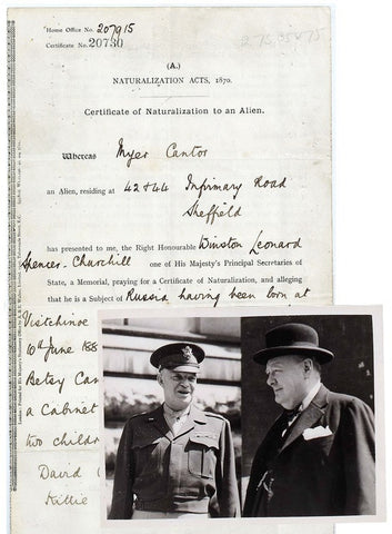 Winston Churchill signed document and original press photographs