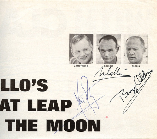 Apollo 11 autographs on Life magazine page