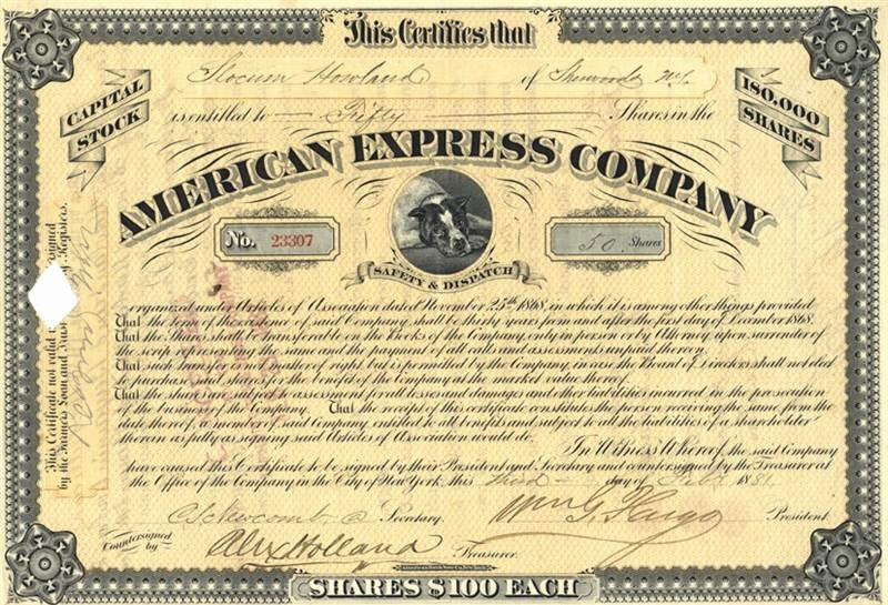 William Fargo Autographed Stock Certificate