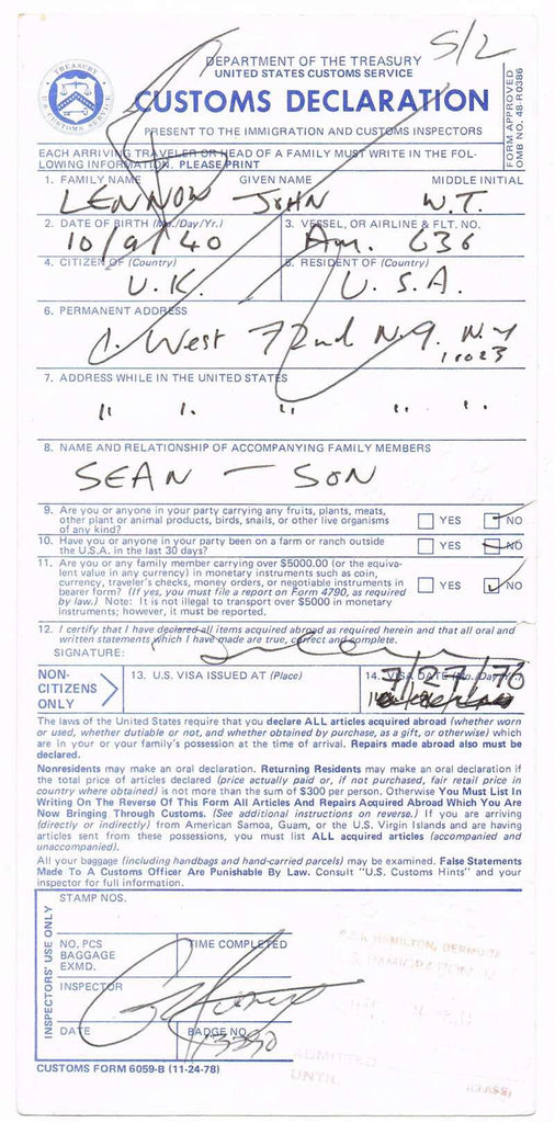 John Lennon Autograph on Customs Declaration